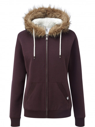 Womens Clough Sherpa Lined Hoody Red