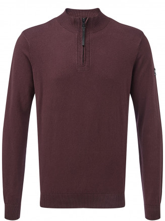Mens Holmes Cashmere Mix Zip Neck Jumper Red